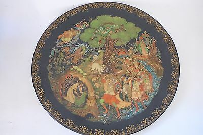 Russian Black Legends Collect Palekh Lacquer Folk Plate Porcelain