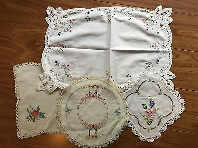 Vintage Linen Sale, Lot of 4 Embroidered DOILIES Flowers Crochet Edges Upcycle