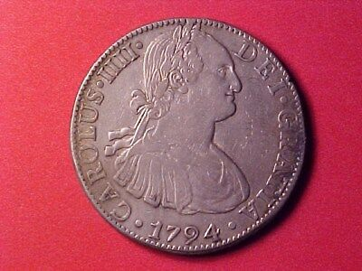 Mexico Colonial 8 Reales Silver Crown 1794-Fm Xf Details (Graffiti) Nice