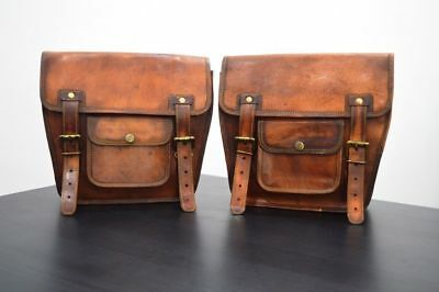 Saddlebags Motorcycle Side Pouch Brown Leather  2 Bags Panniers Saddle Bag