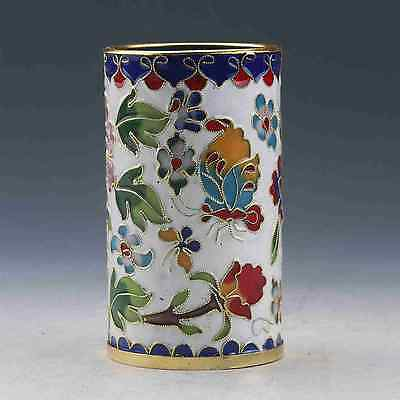 Collectible Chinese Cloisonne Hand-Painted Flower Brush Pots