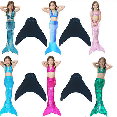 Girls Kids Swimmable Mermaid Tail With Monofin Swim Flippers Cosplay Costumes