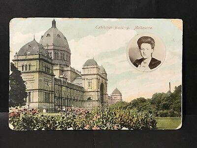 Antique Coloured Photo Postcard EXHIBITION BUILDING MELBOURNE with Lady Portrait