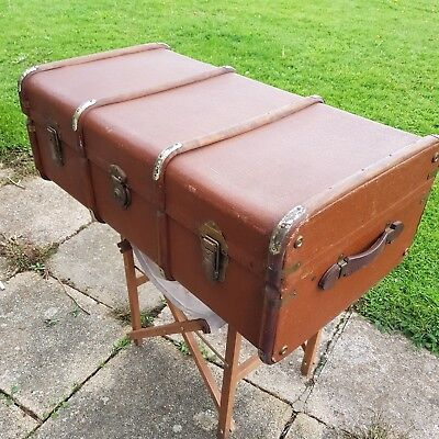 VINTAGE BANDED STEAMER Suitcase TRAVEL Cabin Trunk