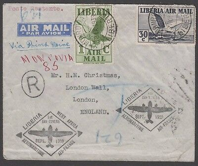 1938 Air France FFC Liberia to London Registered Airmail
