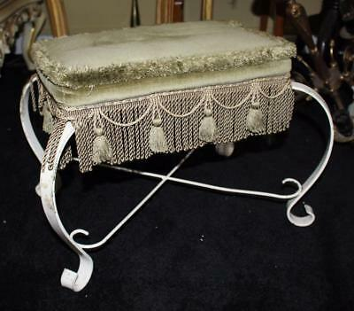 Vintage Shabby Chic Cream Painted Upholstered Foot Stool