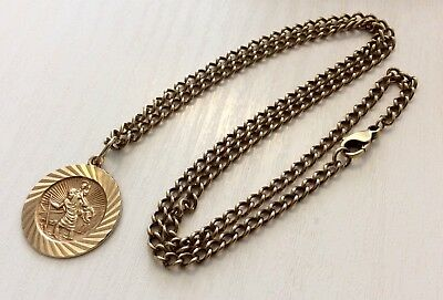 Superb Heavy Vintage 9 Carat Gold Chain with 9 Carat Gold St Christopher Pendant