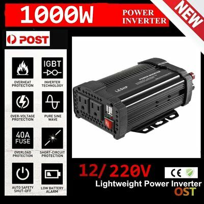 1000W/2000W Peak Pure Sine Wave Power Inverter DC 12V to AC 220V Car Caravan JS