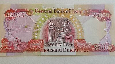 25,000 Iraqi Dinar banknote in uncirculated condition
