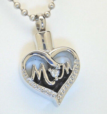 "Stainless Steel ""Mom"" Cremation Urn/Ashes Keepsake Necklace"