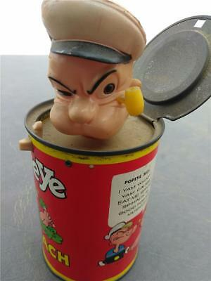 Vintage 1957 Mattel Popeye Spinach Pop-Up Can Jack In The Box Toy King Features