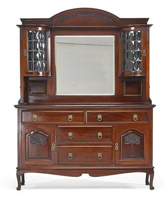 Beautiful Antique Victorian Carved Sideboard Leaded Bubble Glass Curio Doors