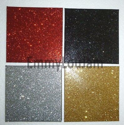 Set of 4 Matching Party Christmas Glitter Coasters - Red Black Silver Gold - NEW
