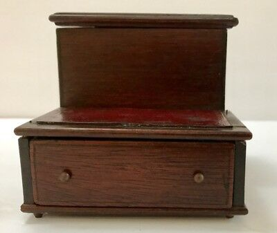 Antique English Style Miniature Leather Top Step Table