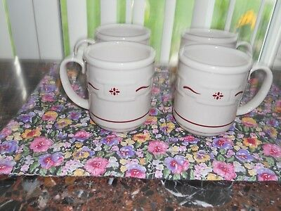4 Red Longaberger Woven Traditions Coffee Cups