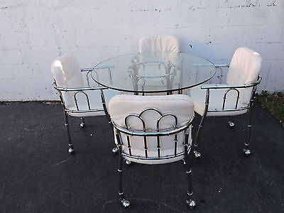 Hollywood Regency MCM Chrome and Round Glass Top Dining Table with 4 Chair 7955