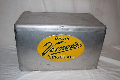 "Large Vintage 1950's Vernor's Soda Pop 22"" Picnic Cooler Embossed Metal Sign"