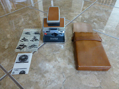 Polaroid SX-70 Land Camera with Leather Case and Manuals Tested & Works!