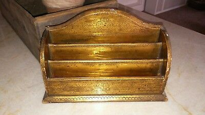 Painted Gold Italian Florentine Floral Tole Wood Desk Letter Box Caddy Italian