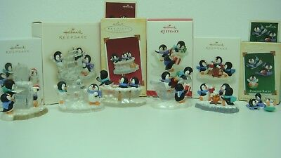 Hallmark Penguin Series Ornaments set of 6 Years 2005-2014 Memory Cards