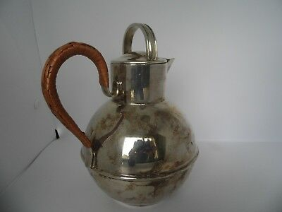 Vintage-EPNS-SIlver-Plated-Guernsey-Jug-16cm- Wicker Handle