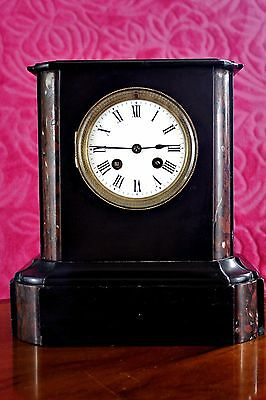 Antique Art Deco French Marble 8-Day Mantel Clock with Strikes