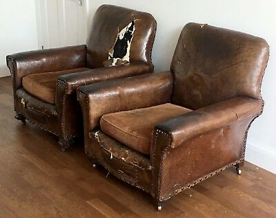 Pair of Brown Leather Armchairs - 1930s - Restoration project