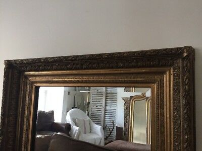 Antique 19th Century French Gilt Gesso Mirror - Bevelled Glass