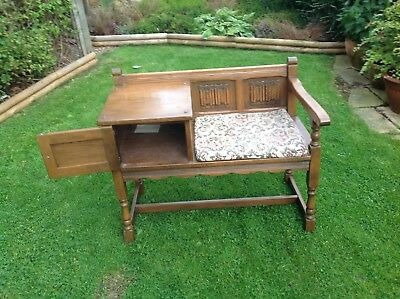 Old Charm Solid Oak Telephone Seat