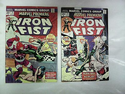 Marvel Premiere issues #18 and 22 comic books(Marvel,1970s)Iron Fist!