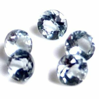 NATURAL LIGHT AQUA BLUE AQUAMARINE LOOSE GEMSTONES (3 pieces) ROUND SHAPE! LOT
