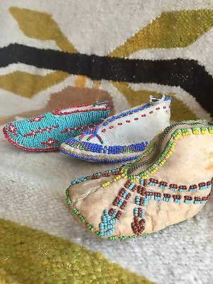 Set of 3 Antique Native American Beaded Kid's Mocs Coin Purses