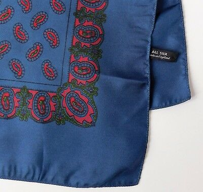 All Silk Paisley pocket handkerchief navy blue English vintage 17 inches square