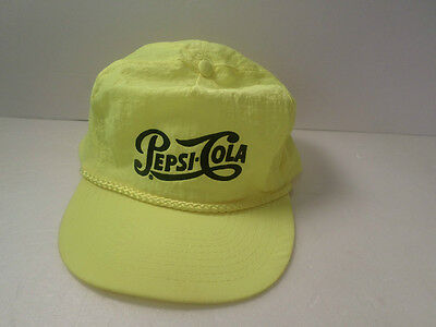 VINTAGE Pepsi Cola HAT Neon YELLOW Or HOT YELLOW HAT CAP