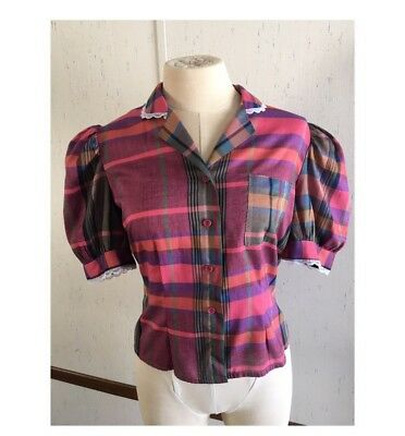 1950's Vintage Button Up Plaid Puff Sleeve Shirt Top 50's