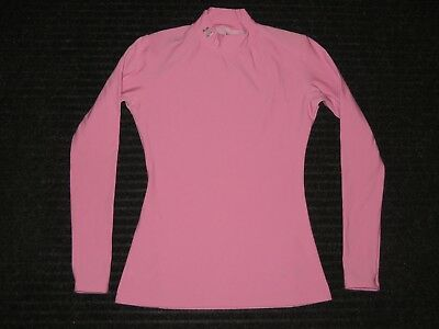 Under Armour Compression Long Sleeve LS Mock Neck Shirt Womens MD Medium Pink