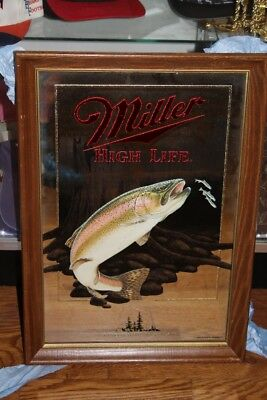 Miller High Life Beer Wildlife Series Rainbow Trout Mirror Sign NEW