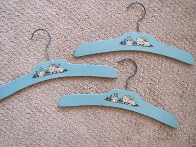 Set Of Three Of Vintage Wooden Child Children Hangers Blue Rabbits Painted