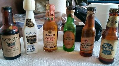 6 Vtg Mini Beer Bottles Sample Glass Pabst Imperial Coroner Vandermint Bar Decor