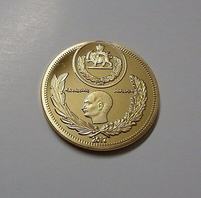 IRAN PERSIA COIN REZA SHAH & M.R. PAHLAVI 2017(2576) MEDAL UNC.24kt Gold Plated.