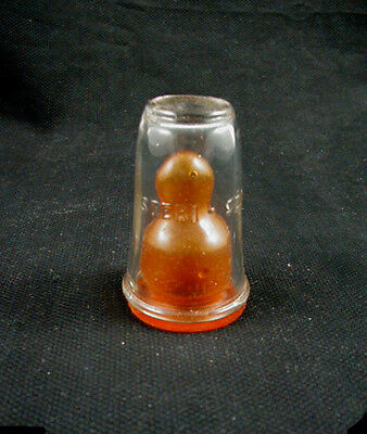 "Vintage Crystal Glass Baby Bottle Sanitary Nipple Cover- ""STERI-SEAL"""