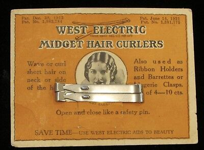 1920s West Electric Midget Hair Curlers 2 Silver on Card