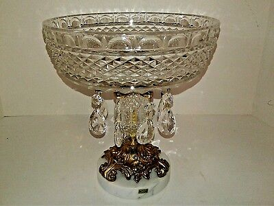 """Vintage Compote Glass Crystal Marble Base & Prisms 9"""" Italy"""