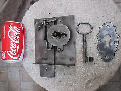 Antique or Vintage Door Iron Lock Key Locking Complete With Cover Plate Key Hole