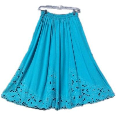 Vintage Floral Embroidered Cut Out Midi Skirt Full Sweep Blue Teal M