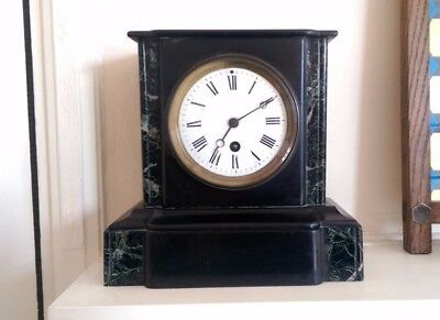 Victorian slate and marble mantel clock