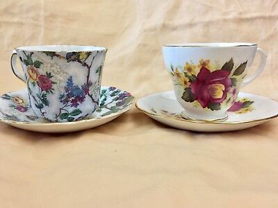 Two Gorgeous Vintage English Bone China Tea Cups And Saucers