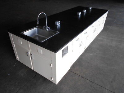 Need Bench Space?  USED Lab Cabinet Bench Island with Sink, 12 feet by 54 inches