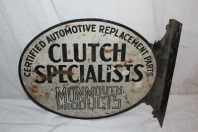 "Vintage 1920's Monmouth Clutch Specialists Gas Oil 2 Sided 18"" Metal Flange Sign"