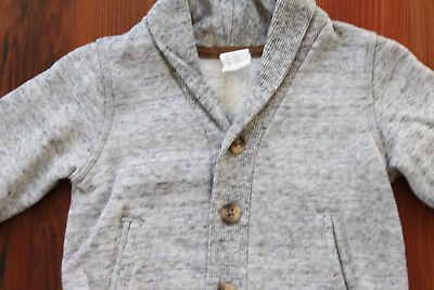 H&M Baby Boy 6-9 Months Grey Cardigan Jersey Sweater Elbow Detail Buttons